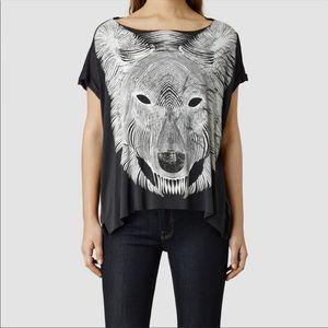 All Saints Wolf Tee Shirt Distressed Frayed Hem L